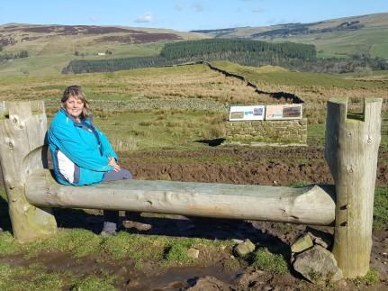 Elaine Edgar above Epiacum Roman Fort